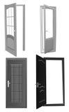 Four Grey Doors Collection Stock Photo