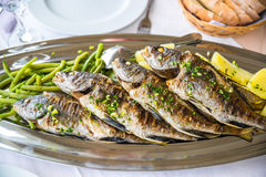 Four grilled fish on a plate with potatoes and vegetables Stock Image