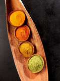 Four ground spices for Asian cuisine Royalty Free Stock Image