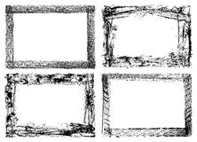 four grunge frames isolated on white Stock Photography