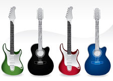 Four Guitars Royalty Free Stock Photos