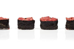 Four Gunkan Maki with Tuna Royalty Free Stock Photo