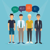Four guys communicate. Speech Bubbles with Social Media Words.  Royalty Free Stock Photo