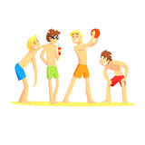 Four Guys Playing Having Fun, Part Of Friends In Summer On The Beach Series Of Vector Illustrations Royalty Free Stock Photo