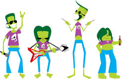 Four guys in a rock band. Illustration of four funky, green guys playing in some kind of rock band. The characters can be used seperately stock illustration