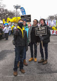 Four Guys Taking Selfie at March for Life Stock Photo