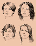 Four haircuts. Hand-drawn illustration of four different haircuts royalty free illustration