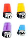Frontal Lighters Bundle. Four half-transparent simple lighters - red, yellow/orange, purple and bule, isloated on white background Stock Photos