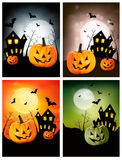 Four Halloween banners Stock Photography