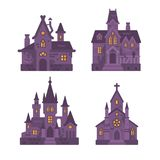 Four Halloween buildings flat illustration. Witch hut, haunted house, vampire castle and cemetery chapel. Dark gothic fantasy houses on white background Vector Illustration