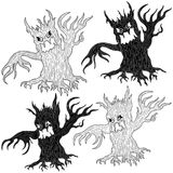 Four Halloween angry evil tree. Four Halloween cartoon aggressive twisted evil trees in stencil and outline vector designs Royalty Free Stock Photos