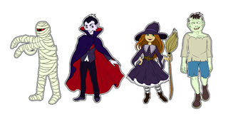 Four Halloween characters colour. Four Halloween cartoon colour funny characters Royalty Free Stock Photography