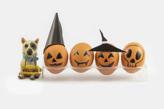 Four halloween egg in egg cup and wellcome dog Stock Photos