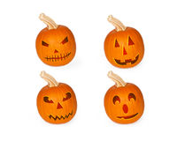Four Halloween Jack-o-lantern Carved Pumpkins. Four halloween carved jack-o-lantern pumpkins with different expressions. Isolated on white royalty free illustration
