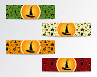Four Halloween little banners with Green, red Stock Image