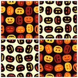 Four Halloween pumpkins seamless patterns set Royalty Free Stock Photo