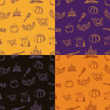 Four halloween seamless  pattern with different elements. Can be used as a greeting card on a Halloween, invitation, background or any other design Royalty Free Stock Photography