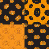 Four Halloween seamless pattern with pumpkin Royalty Free Stock Images