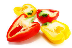 Four halves colored peppers Stock Photo