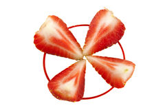 Four halves of strawberry Royalty Free Stock Images