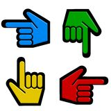 Four hand cursors Stock Photo
