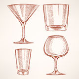 Four hand-drawn alcohol glasses. Set of four different hand-drawn glasses for alcohol Royalty Free Stock Photo