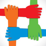 Four hand join each other Stock Images