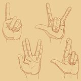 Four hand sketches Royalty Free Stock Images