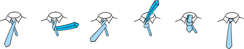 Four-in-hand tie knot. Instructions how to tie a simple four-in-hand tie knot Royalty Free Stock Photos
