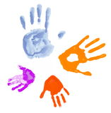 Four hands. Watercolour print of the hands of a family of four; isolated on white background royalty free illustration