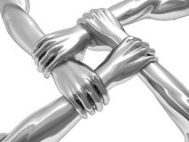 Four hands. 3d illustration of four steel hands holding each over Royalty Free Stock Images