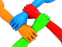 Four hands. 3d illustration of four colorful hands holding each over Stock Photo