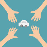 Four Hands arms reaching to cartoon auto car automobile sign symbol. Taking hand. Close up body part. Business card. Flat design. Wealth concept. Blue Stock Images