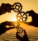 Four hands collect gears. Command. teamwork royalty free stock photos