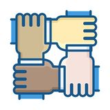 Four hands of different ethnic groups working together as a team. Vector thin line icon illustration. Business, startup, non-profit organization, volunteers vector illustration