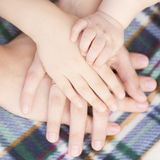Four hands of the family together. Royalty Free Stock Image