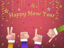 Happy new year 2019 shaped hands. Four hands forming number 2019 in colorful suits to celebrate Happy New Year with hanging gold, silver ribbon, stars and vector illustration