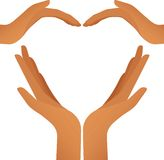 Four hands heart (vector). Illustration of hands in heart shape (vector Stock Images