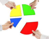 Four hands holding pie chart 3d Royalty Free Stock Photo