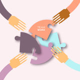 Four hands together team work. 4 Hands putting circle puzzle pieces. Teamwork and business concept. Hands of different colors, cultural and ethnic diversity vector illustration