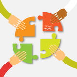 Four hands together team work. 4 Hands putting circle puzzle pieces. Teamwork and business concept. Hands of different colors, cultural and ethnic diversity stock illustration