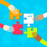 Four hands together team work Stock Photography