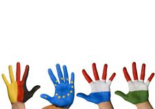 Four hands waving. Symbolizing europe, isolated Stock Photo