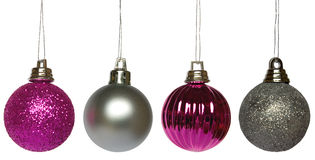 Four Hanging Baubles Royalty Free Stock Photography