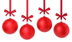 Four hanging christmas balls with nice bow. 3d illustration on white background Royalty Free Stock Photography