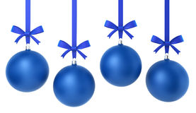 Four hanging christmas balls with nice bow. 3d illustration on white background Stock Images