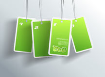 Four hanging green eco cards. Stock Photo