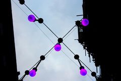 Four hanging purple bulbs Stock Images