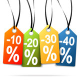 Four hangtags with discounts Stock Photo