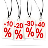 Four hangtags with discounts Royalty Free Stock Photography